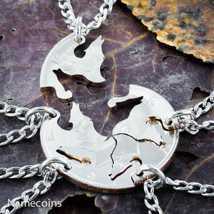 Silver Wolf Necklaces - Wolf Pack, 5 Piece Friends And Family Necklace, Hand Cut Coin