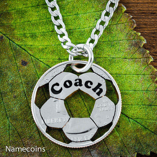 Soccer Coach Necklace, Custom Engraved Coach Or Name