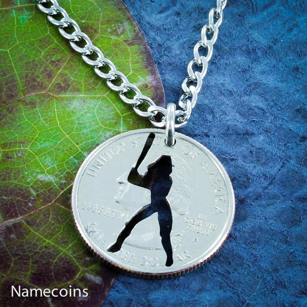 Softball Girl Hand Cut Coin Necklace