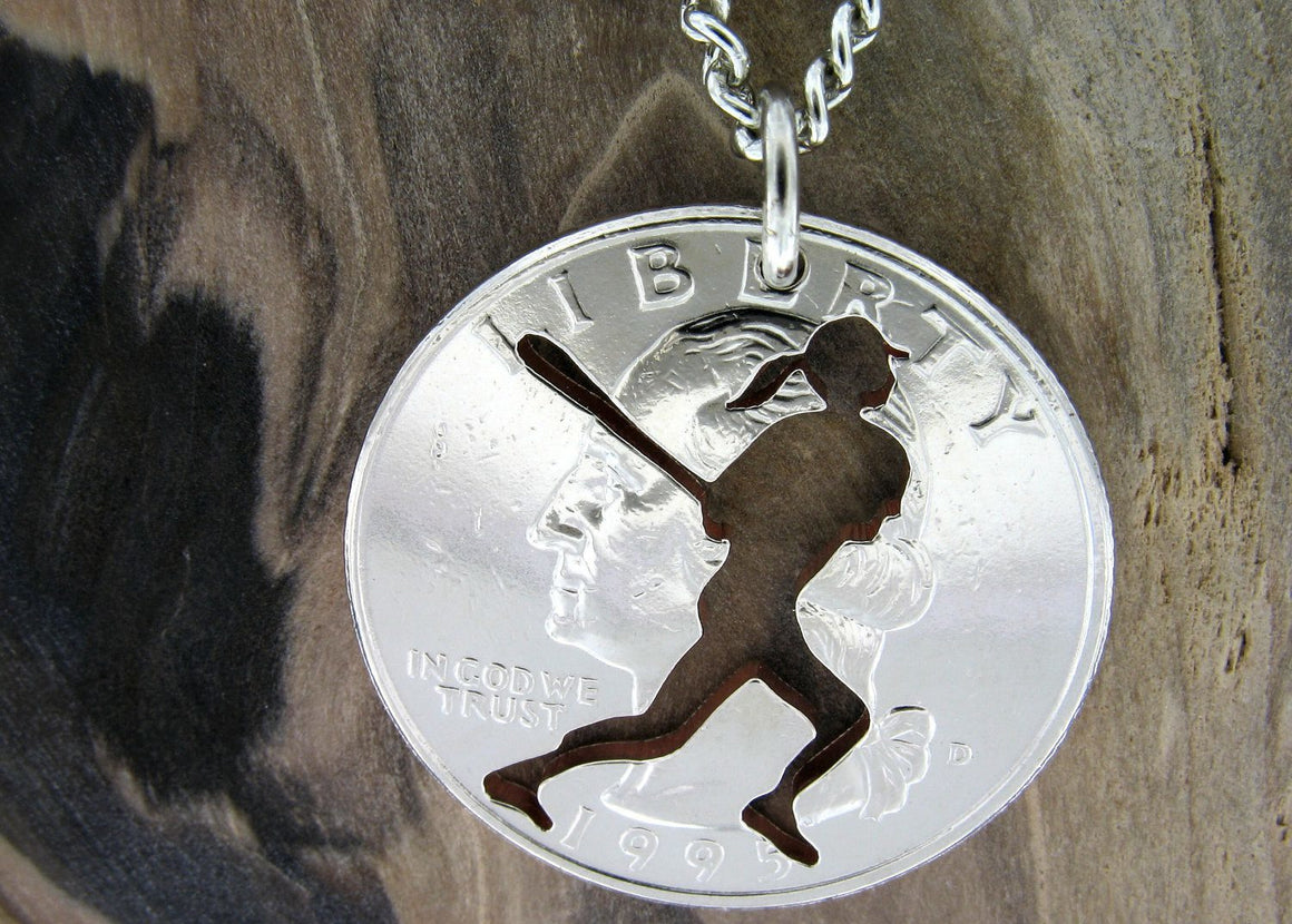 Softball Player Hand Cut Coin Necklace