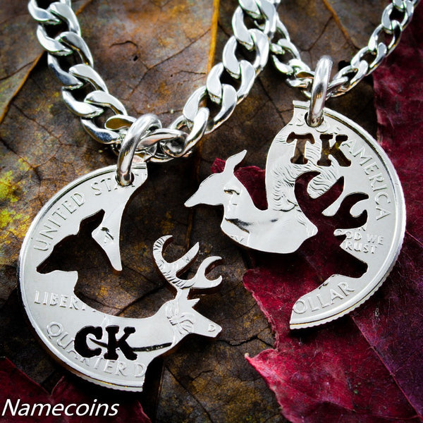 Stag And Doe Customized Initials Necklace, 2 Each, Hunt, Puzzle Hand Cut Coin