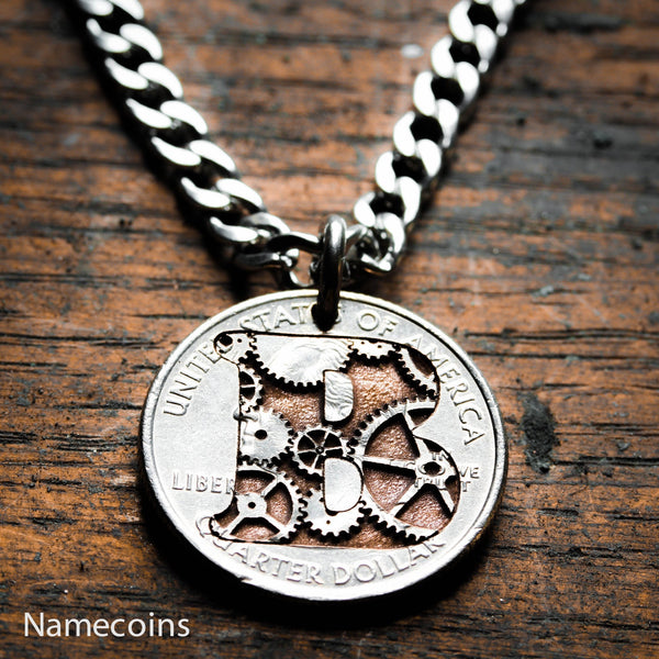 Steampunk Necklace - Steampunk Monogram Necklace, Initial Jewelry, Gears Engraved Inside