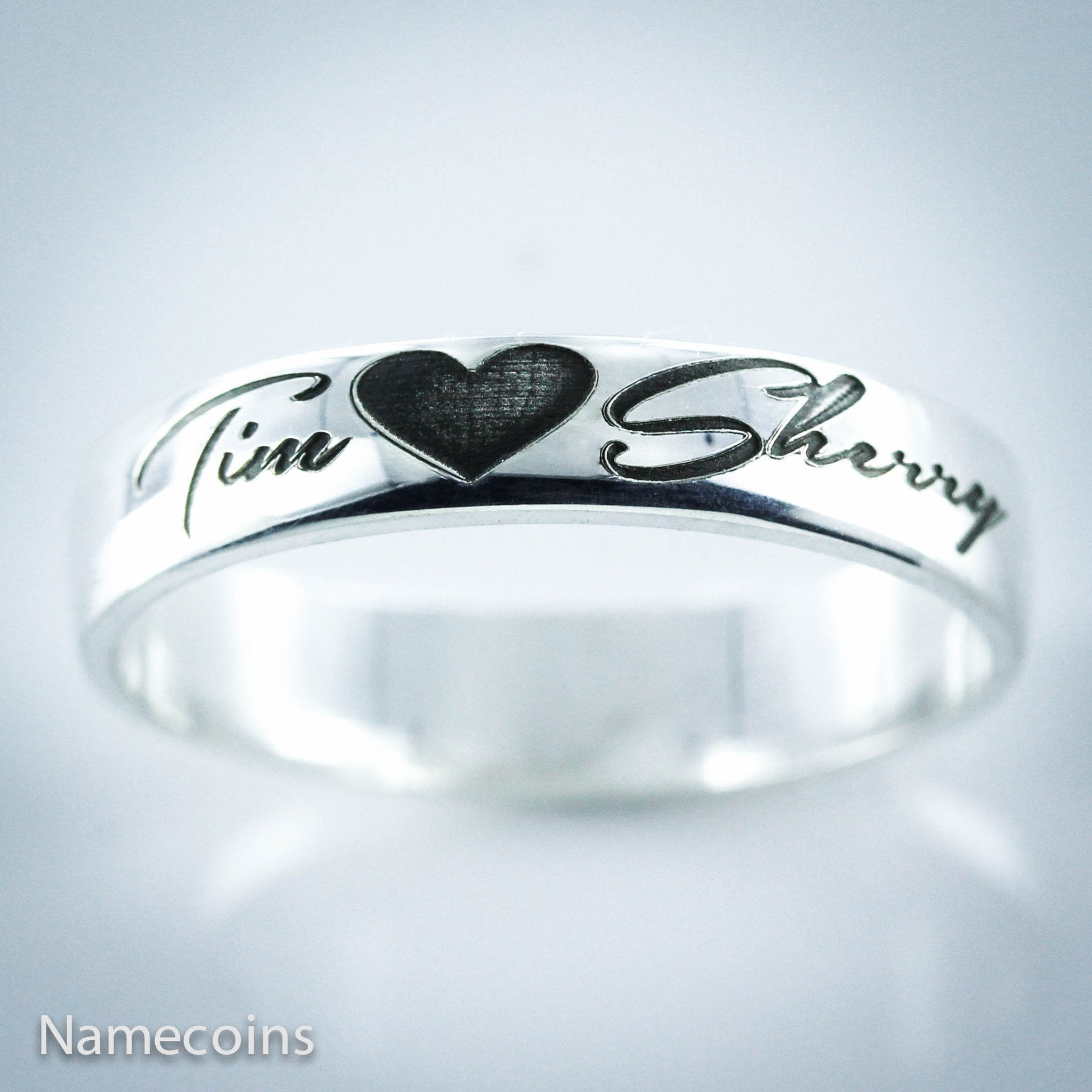 Custom Couples Silver Name Ring 2 names with a heart NameCoins