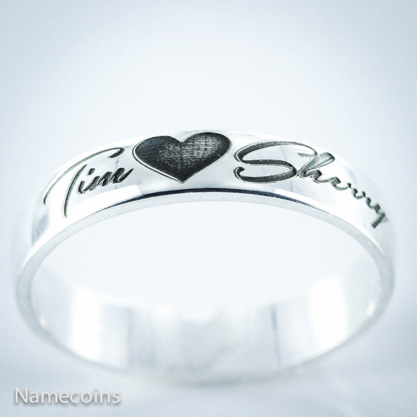 Sterling Silver Rings - Custom Couples Silver Name Ring, 2 Names With A Heart