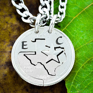 Texas State Couples Necklaces with initials