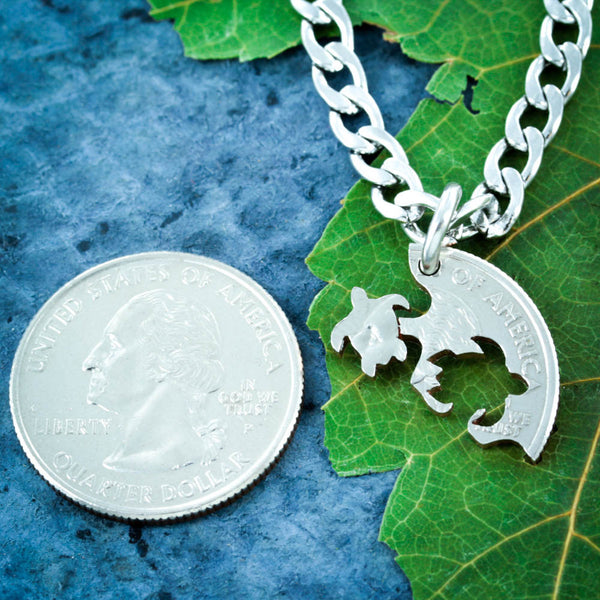Three Best Friend Turtle Necklaces, Friendship interlocking jewelry, Hand Cut Coin