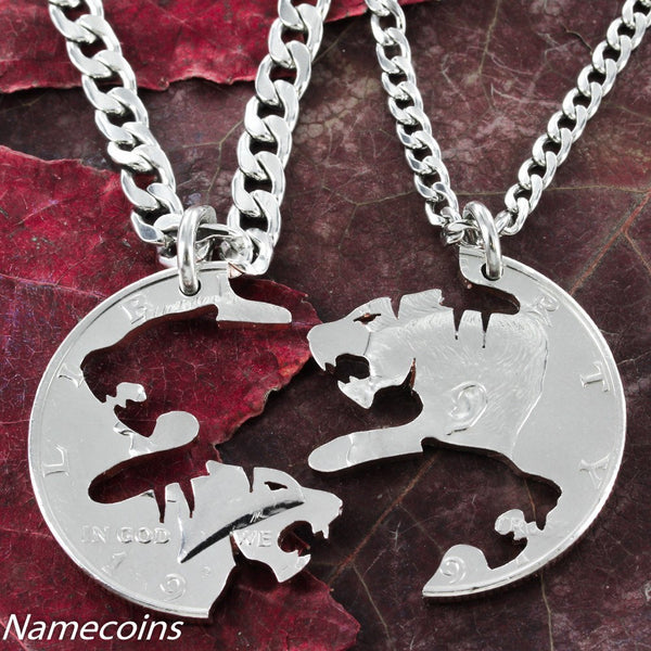 Tiger Jewelry, Cats Cut On A Half Dollar,  Friendship Necklaces, Hand Cut Coin.