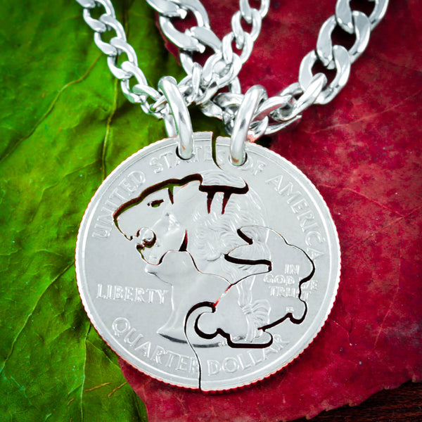 Tiger and Bunny Necklace Set, Interlocking hand cut coin