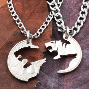 Tiger and Wolf Couples Necklaces, Howling Wolf Gift, Tiger and wolf