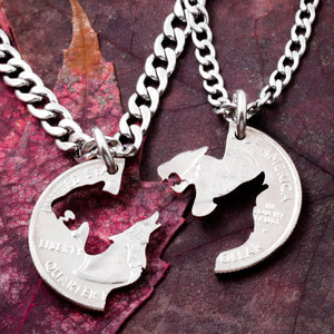 Lioness and Wolf Couples Necklaces, Howling Wolf Gift, His and Hers