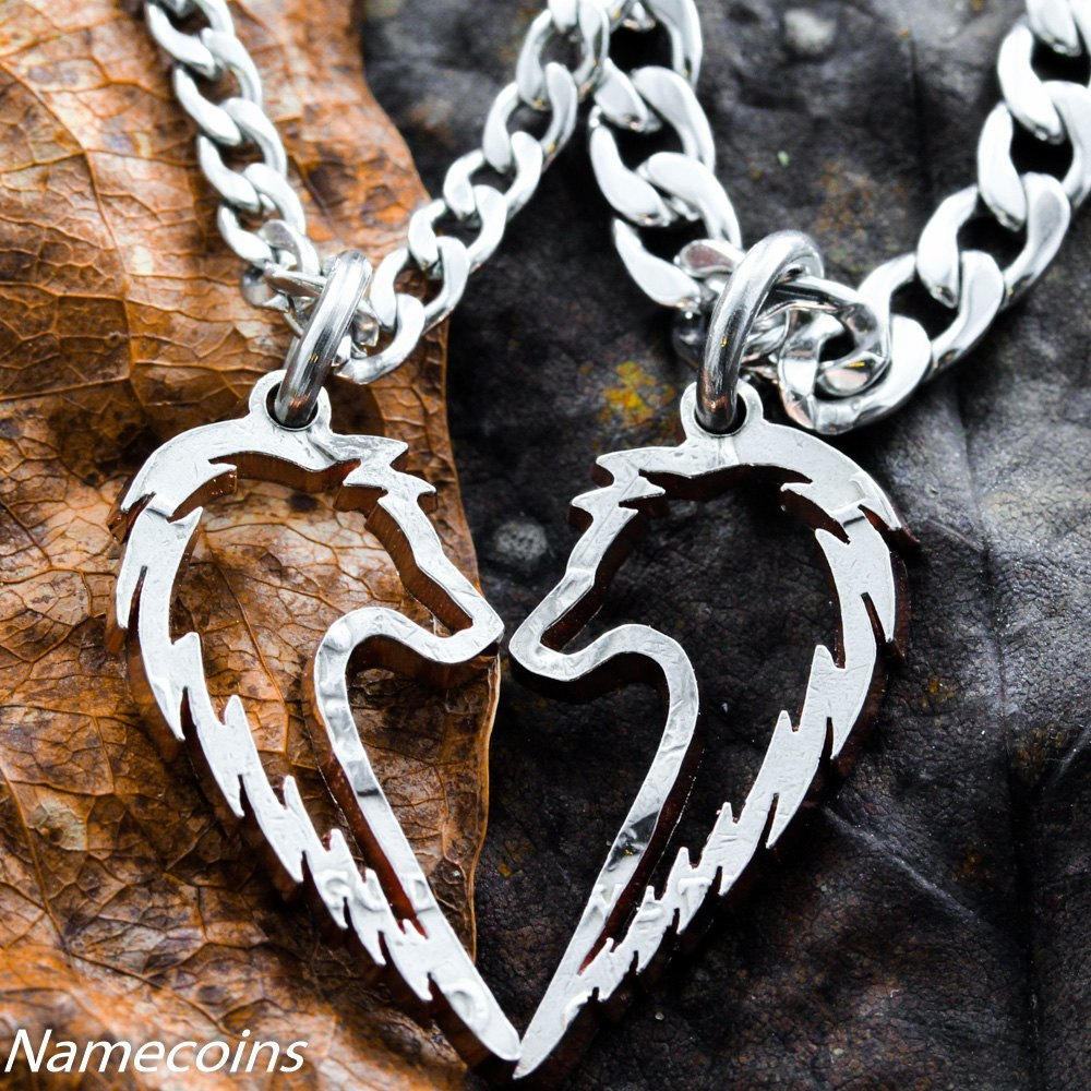 Tribal Wolf Necklaces, Couples Jewelry set - NameCoins