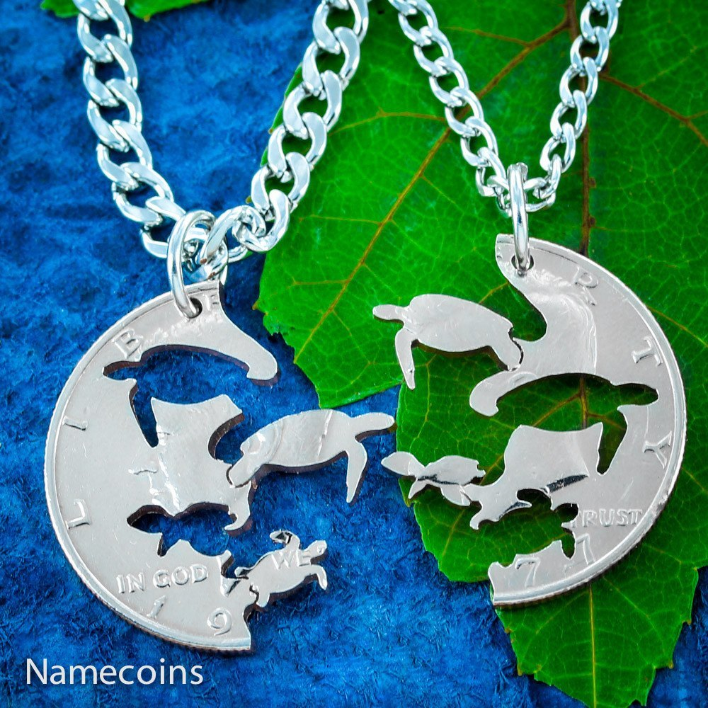 Turtle necklaces with baby sea turtles interlocking pendants for turtle necklaces with baby sea turtles interlocking pendants for parents aloadofball Image collections