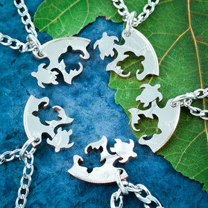 5 Best Friends Sea Turtle Necklaces, Puzzle Family Jewelry Coin