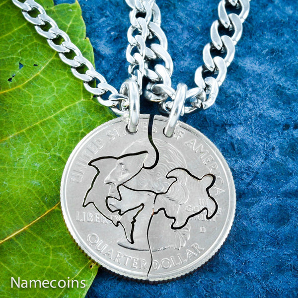 Turtles - Shark And Turtle Necklace, Friendship Set, Interlocking Hand Cut Coin