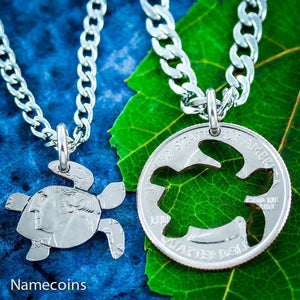 Turtles - Turtle Jewelry, Friendship Necklaces, 2 Necklaces