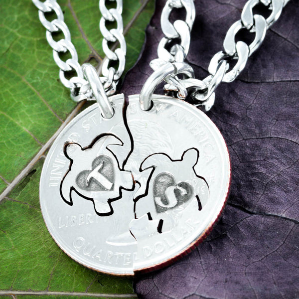Turtles With Initials Friendship Necklaces, Turtle with Heart