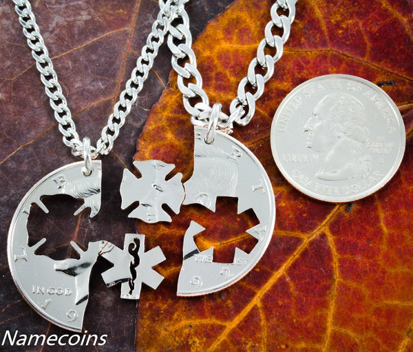 Vocations - Firefighter And Emt Couples Necklaces Hand Cut Coin