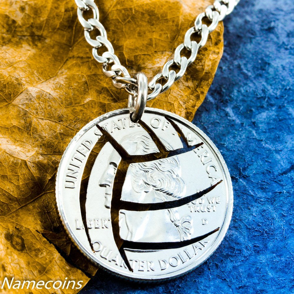 Volleyball Necklace With Stainless Steel Chain, Hand Cut Quarter