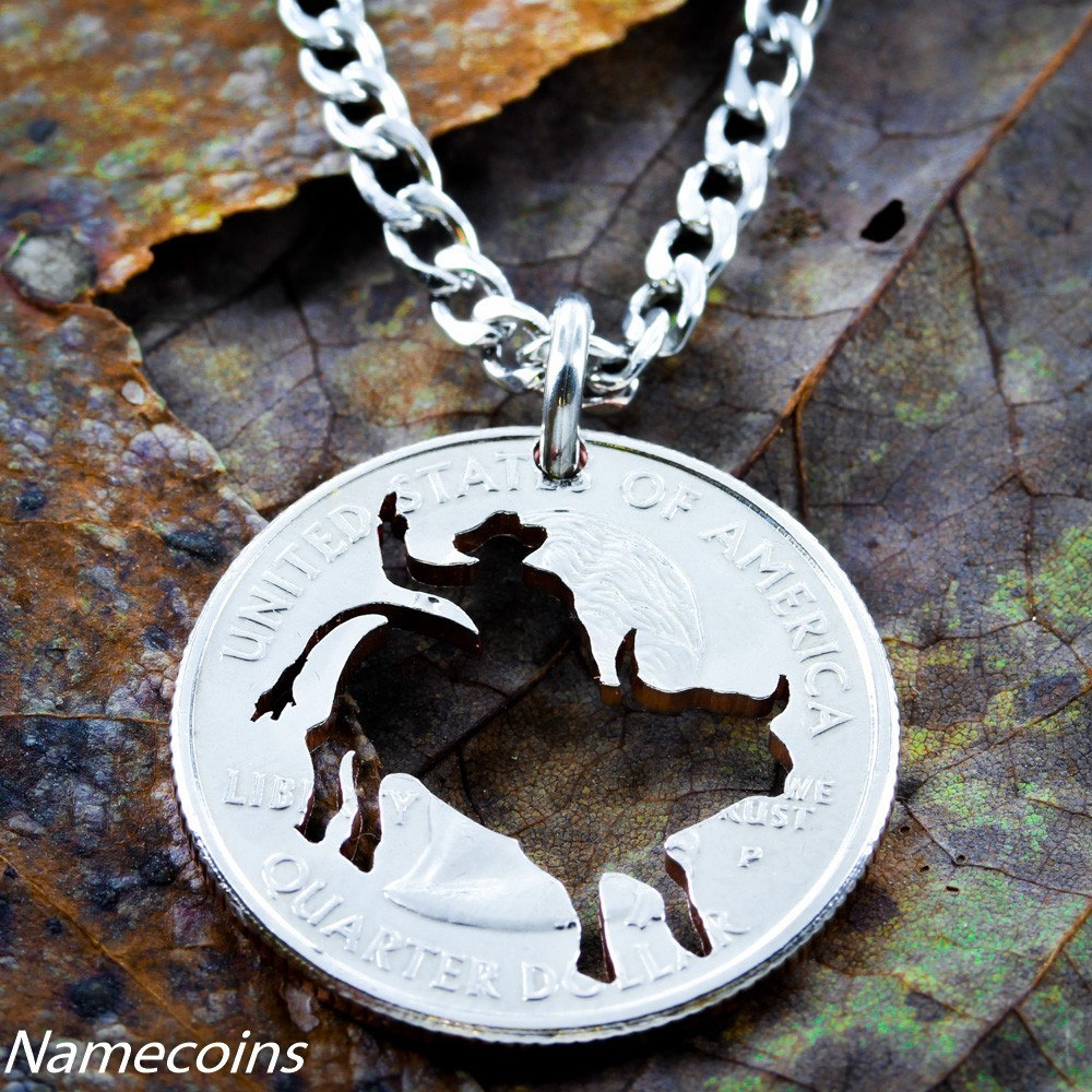 Western Jewelry, Bull Rider Necklace, Hand Cut Coin