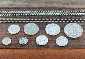 Whole Family Interlocking Puzzle Necklace Set, 10 Piece, Hand Cut Silver Dollar