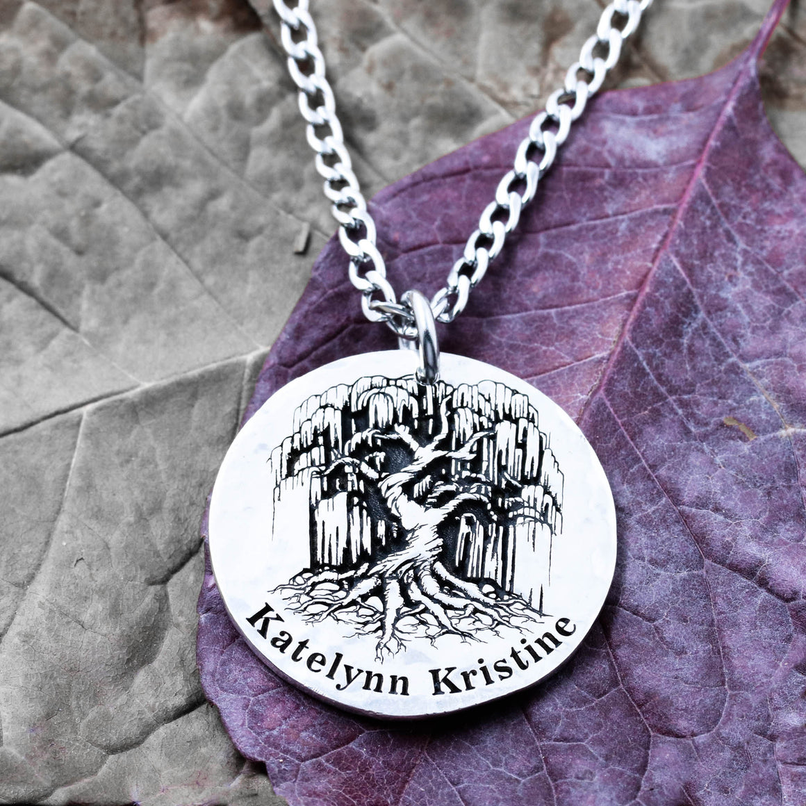 Silver Tree Necklace, Weeping Willow pendant, custom name engraved