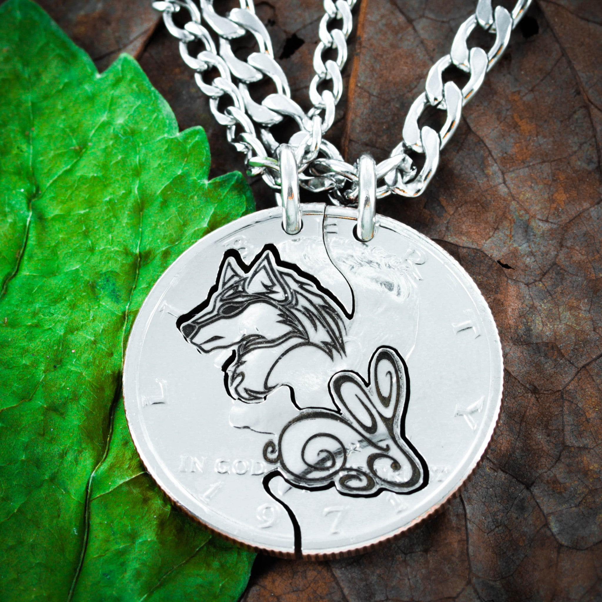 Wolf and Rabbit Couples Necklaces, Relationship Jewelry - NameCoins