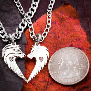 Wolf Couples Necklaces, Custom Initials engraved