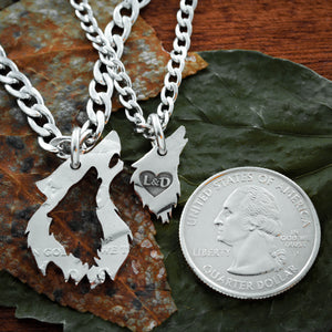 Wolf Couples Necklaces with custom initials engraved in a heart