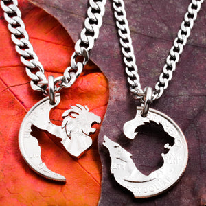 Lion and Wolf Couples Necklaces, Best Friends or Couples Jewelry, BFF Gift