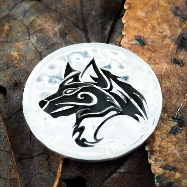 Tribal lone wolf pendant, Distressed silver coin necklace