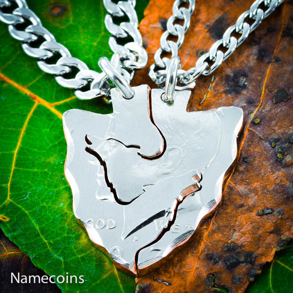 Wolf Arrowhead Necklaces for friends and couples, Hand cut coin