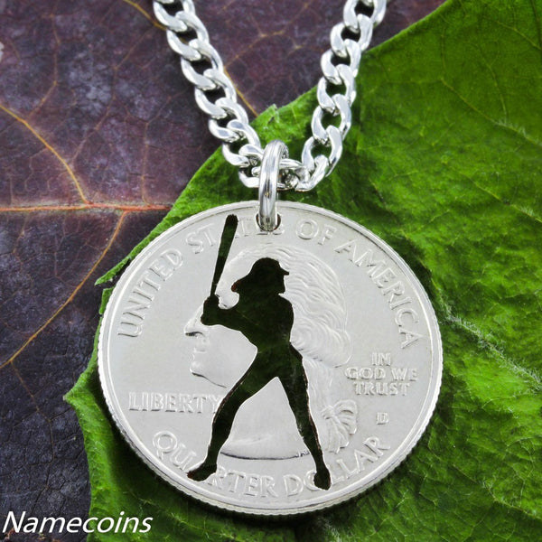 Woman Silhoette Softball Batter Necklace, Hand Cut Coin Jewelry