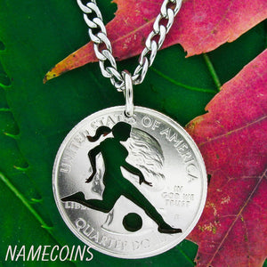 Woman Soccer Necklace, Quarter Cut By Hand