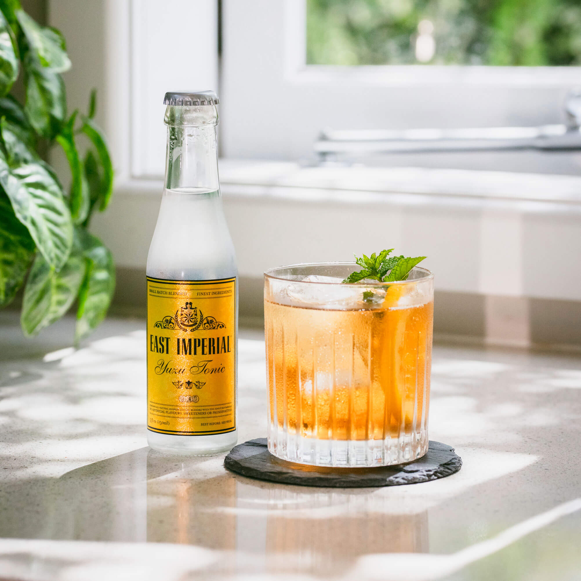 First Frost cocktail recipe with East Imperial Yuzu Tonic and Rutte Sloe Gin