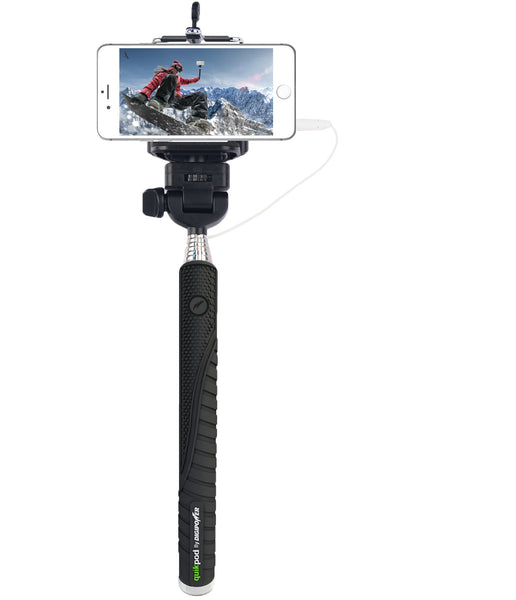 quik pod fun selfie stick with wired remote great stocking stuffer. Black Bedroom Furniture Sets. Home Design Ideas