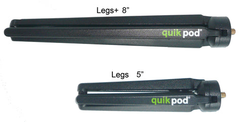 "Extra Long 8"" Quik Pod Steel Tripod Legs+ for Quik Pod ULTRA, SPORT and Explorer 3- New!"