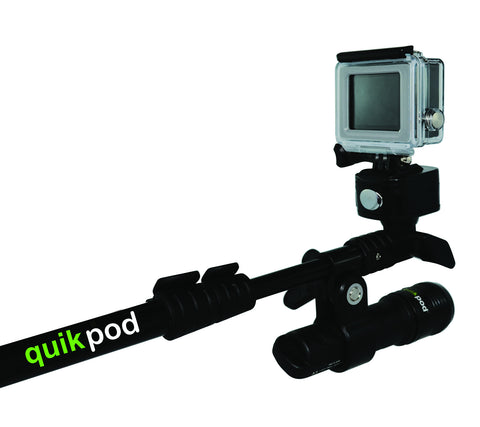 Quik Pod SPORT for GoPro, Samsung Gear 360, Nikon, Sony and all Action Cams - Compact and Salt Water Proof!