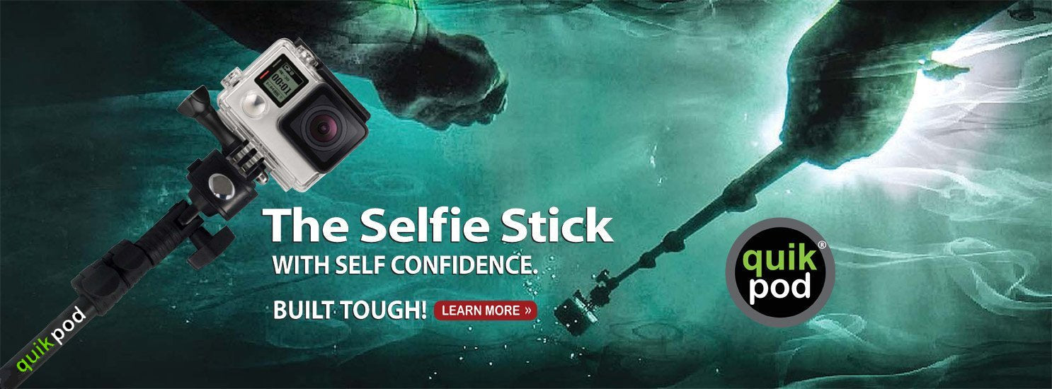 slider image of quikpod selfie stick used by diver