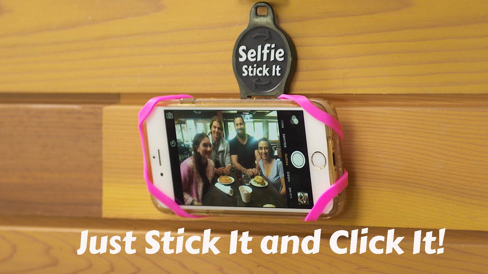 Slider image of quikpod selfie stick it universal phone mount