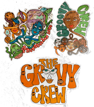 "Load image into Gallery viewer, ""GROOVY"" sticker pack¸. ✶*¨*. ¸ .✫*¨*.¸¸.✶*¨'*✫"