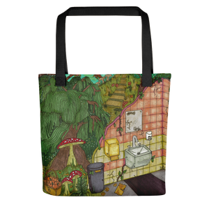 """anywhere can be a temporary escape"" tote bag"