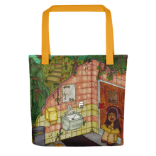 "Load image into Gallery viewer, ""anywhere can be a temporary escape"" tote bag"