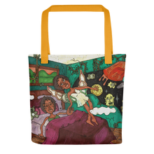 "Load image into Gallery viewer, ""my dreams take me elsewhere"" tote bag"