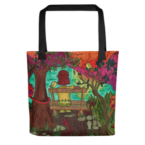 """with the birds i share this lonely view"" tote bag"