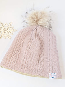 Tuque Hiver : Tricot rose