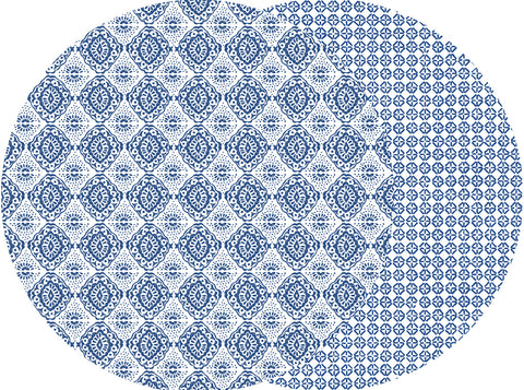 Two Sided Navy Flower Placemat