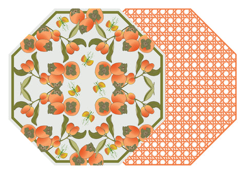 TWO SIDED OCTAGONAL COTTON & QUILL KUMQUAT AND PERSIMMON PLACEMAT WITH TANGERINE CANE