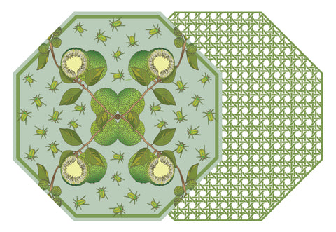 TWO SIDED OCTAGONAL COTTON & QUILL  AND HSH OSAGE ORANGE PLACEMAT WITH SAXON GREEN CANE