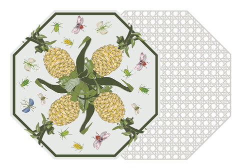 TWO SIDED OCTAGONAL COTTON & QUILL AND HSH PINEAPPLE AND BUG PLACEMAT WITH GRAY CANE