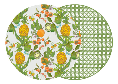 TWO SIDED ROUND COTTON & QUILL AND HSH PINEAPPLE PLACEMAT WITH SAXON GREEN CANE